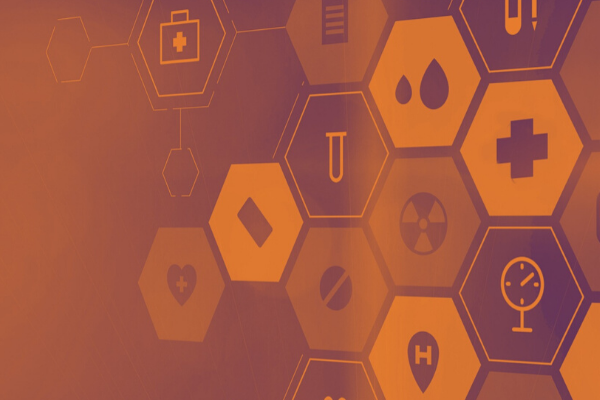 Abstract shapes with healthcare icons