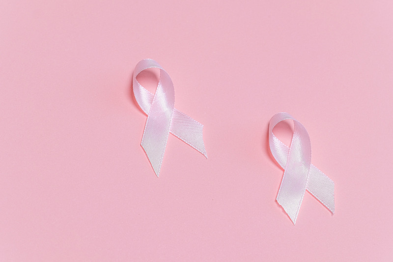 Pink breast cancer ribbons.