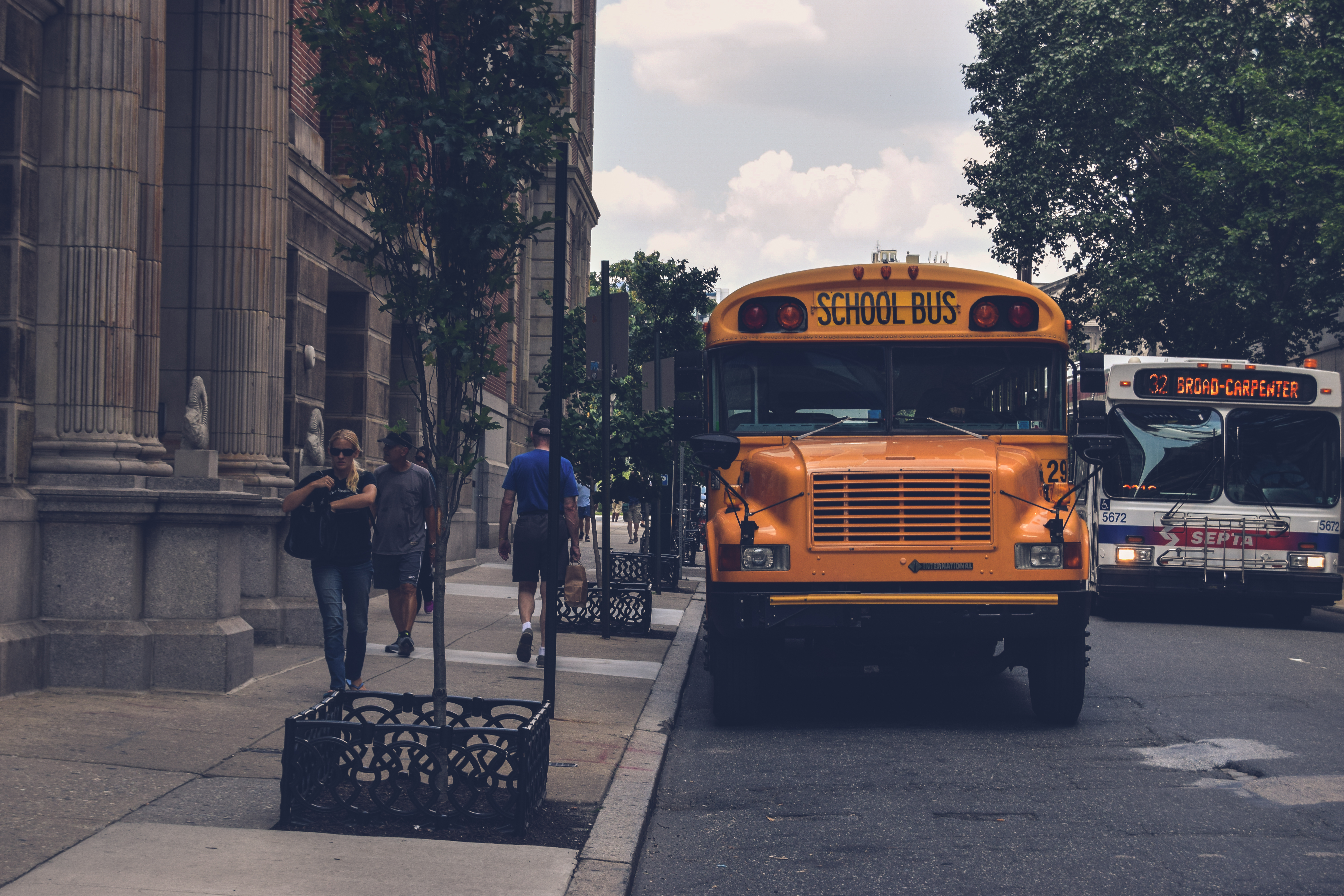 School bus parked on a street.