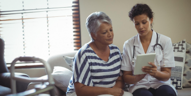 Clinician with an assisted living facility resident